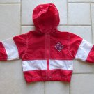 BASIC OUTLOOK GIRL'S SIZE 2 T JACKET RED & WHITE LIGHT WEIGHT COAT WINDBREAKER W/ HOOD HOODIE