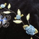 ALL THAT JAZZ GIRL'S SIZE M DRESS NAVY BLUE VELVET EMBROIDERED BUTTERFLY CHRISTMAS HOLIDAY PARTY