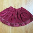 GYMBOREE GIRL 'S SIZE 7 SKIRT BURGUNDY VELVET SHORT EMBROIDERY & ORGANZA PARTY CHRISTMAS HOLIDAY