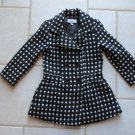 AMY BYER GIRLS SIZE 4 COAT BLACK & WHITE POLKA DOTS WINTER OUTERWEAR