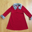 ZOEY GIRL'S SIZE 4 DRESS DEEP RED W/ BLACK & WHITE DALMATIAN FAUX FUR COLLAR & CUFFS CHRISTMAS