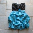 TRIXXI WOMENS JUNIORS SZ 5 DRESS BLACK & AQUA PROM PICK UP BUBBLE MINI SKIRT HOMECOMING FORMAL PARTY