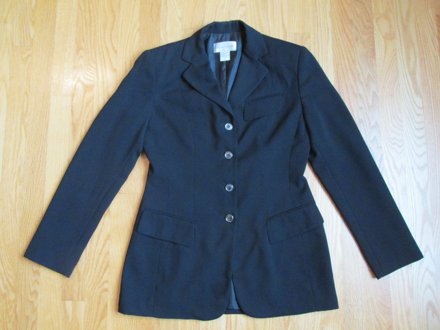 CASUAL CORNER WOMEN'S SIZE 4 SUIT JACKET BLACK OFFICE CAREER TAILORED BLAZER STYLISH & SHARP