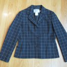IN WEAR WOMEN'S SIZE 8 SUIT JACKET BLACK & IVORY PLAID OFFICE CAREER BLAZER LONG SLEEVE