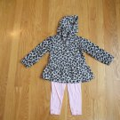 CARTER'S GIRL'S SIZE 2 T 2 PIECE FLEECE SET LEOPARD PRINT HOODIE & PINK LEGGINGS