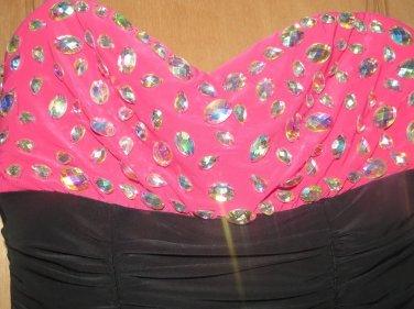 LOVE REIGN WOMEN'S JUNIOR'S SIZE M DRESS BLACK & FUCHSIA SHIMMERY GEMS TUBE BANDEAU PARTY