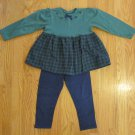 KABOOM GIRL'S SIZE 4 T 2 PC LEGGING SET NAVY & GREEN PLAID LONG SLEEVE TOP CARTER'S COUNTRY