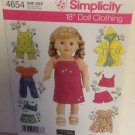 "SIMPLICITY 4654 AMERICAN GIRL 18"" DOLL CLOTHES PATTERN DRESS COAT PANTS NEW"