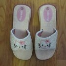 HELLO KITTY GIRL'S SIZE 3 SHOES WHITE IRIDESCENT & PINK SEQUINS & BEADS SANDALS SLIDES