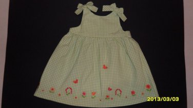 GYMBOREE GIRL'S SIZE 12/18 mo. DRESS PALE GREEN GINGHAM  SPRING EASTER CHURCH