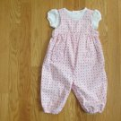 CARTER'S GIRL'S SIZE 6 mo. ROMPER & TOP PINK FLORAL OVERALLS SPRING EASTER CHURCH 2 PC. SET