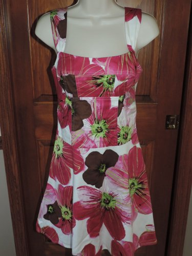 CANDIE'S WOMEN'S JUNIOR'S SIZE 9 DRESS WHITE, FUCHSIA & LIME FLORAL SPRING EASTER ROCKABILLY