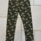 BASIC IMAGE GIRL'S SIZE 6 6X CLASSIC LEGGING GREEN FLORAL CAMOFLAGUE PRINT NEW WITH TAG
