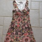 DRESSBARN WOMEN'S SIZE 4 DRESS IVORY, PEACH, BROWN RUCHED TUBE BANDEAU PARTY