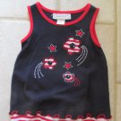 SOPHIE ROSE GIRL'S SIZE 6 - 9 mo. DRESS & PANTIES RED, WHITE, & BLUE JULY 4 PATRIOTIC