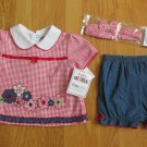 OKIE DOKIE GIRL'S SIZE 6 - 9 mo. TOP, SHORTS, & HEADBAND SET RED, WHITE, & BLUE JULY 4 PATRIOTIC NWT