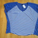 FADED GLORY WOMEN'S PLUS SIZE 2X (18 - 20) TOP ROYAL BLUE STRIPE V NECK SHORT SLEEVE NWT