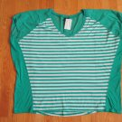 FADED GLORY WOMEN'S PLUS SIZE 3X (22 - 24W) TOP GREEN BREEZE STRIPE V NECK SHORT SLEEVE NWT