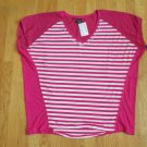 FADED GLORY WOMEN'S PLUS SIZE 1X (16W) TOP FUCHSIA STRIPE V NECK SHORT SLEEVE NWT
