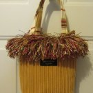 BAGOLITAS WOMEN'S HAND BAG GOLD & RUST HOLSTERY SATCHEL SMALL SIZE PURSE FRINGED TOTE