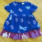 GLOBAL MAMAS GIRL'S SIZE 12 mo. DRESS BLUE & FUCHSIA BATIK FLORAL PRINT SHORT SLEEVE