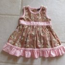 OSHKOSH GIRL'S SIZE 0 - 3 mo. DRESS & PANTIES BROWN FLORAL W/ MAUVE TRIM CHURCH WEDDING SUN