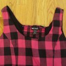 WET SEAL WOMEN'S SIZE M TOP BLACK & FUCHSIA BUFFALO PLAID BACK SMOCKING