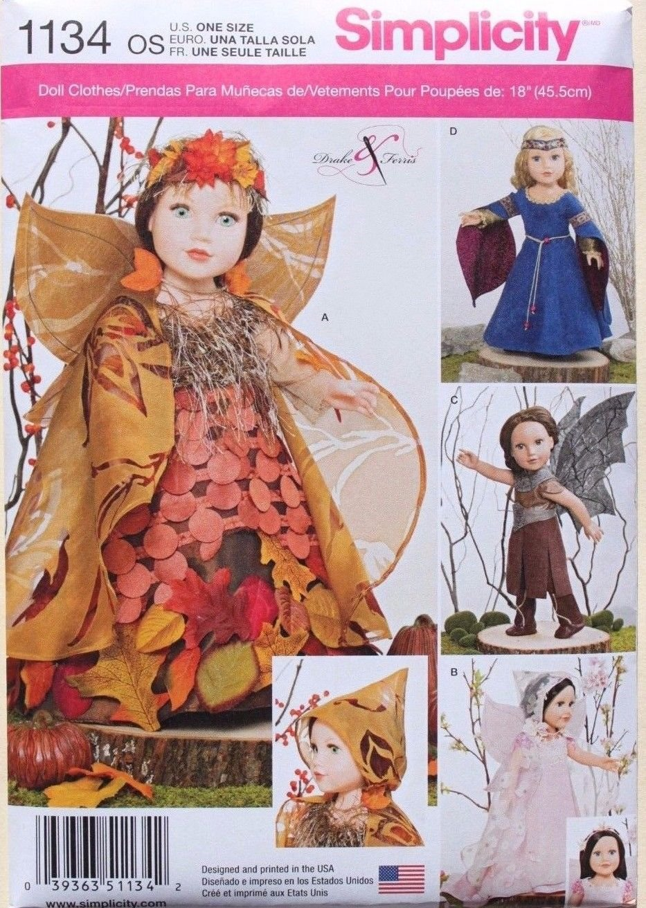 """SIMPLICITY 1134 AMERICAN GIRL 18"""" DOLL CLOTHES PATTERN RENAISSANCE MEDIEVAL FAIRY COSTUMES NEW"""