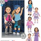 "SIMPLICITY 1087 AMERICAN GIRL 18"" DOLL CLOTHES PATTERN MODERN MIX & MATCH + GAITERS NEW"