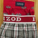 IZOD BOY'S SIZE XL 16 - 18 BOXER SHORTS 2 PAIR 1-BLACK, WHITE & RED PLAID 1- RED W/ RACING FLAGS NEW