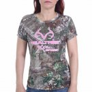 REALTREE WOMEN'S SIZE L (12/14)  T-SHIRT BROWN LEAF CAMOUFLAGE W/ PINK ANTLER GRAPHIC HUNTING NWT