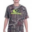 MOSSY OAK MEN'S SIZE S (34/36) T-SHIRT BROWN LEAF CAMOUFLAGE W/ LIME TREE GRAPHIC HUNTING NWT