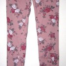 ALMOST FAMOUS WOMEN'S JUNIOR'S SIZE 3 MAUVE PINK JEANS RED & GRAY FLORAL STRETCH SLIM SKINNY JEGGING