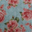 SECRET GARDEN PINK FLORAL ON BLUE BACKGROUND WILMINGTON COTTON FABRIC VICTORIAN NEW
