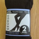 GEORGE WOMEN'S JUNIOR'S SIZE M / L TIGHTS BROWN, BLACK FLEECE FOOTED 2 PAIR NIP