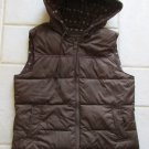 OLD NAVY JUNIOR'S SIZE M VEST BROWN JACKET W/ HOOD PUFFER OUTERWEAR COAT WOOL & ANGORA LINING