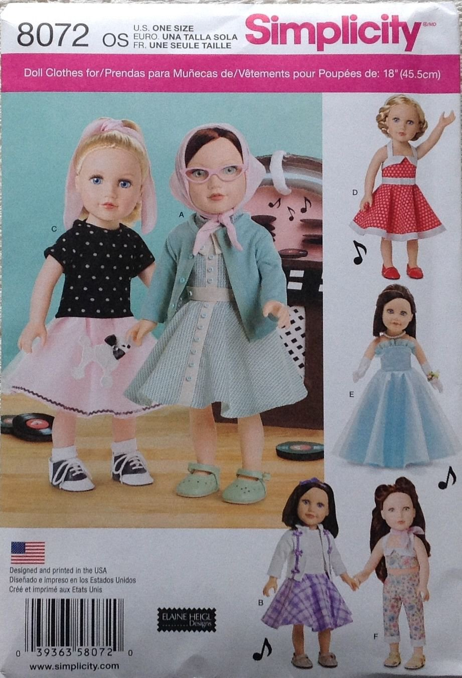 SIMPLICITY 8072 AMERICAN GIRL 18 DOLL CLOTHES PATTERN 1950s DRESS SWEATER SET POODLE SKIRT NEW