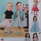 "SIMPLICITY 8072 AMERICAN GIRL 18"" DOLL CLOTHES PATTERN 1950's DRESS, SWEATER SET POODLE SKIRT NEW"