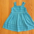 BLUEBERRI BOULEVARD GIRL'S SIZE 3 / 4 DRESS TURQUOISE FRENCH HAND SEWING EASTER BOUTIQUE CHURCH SUN