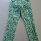 OLD NAVY THE ROCK STAR WOMEN'S SIZE 10 JEANS GREEN WHITE PAISLEY SKINNY LEG CASUAL