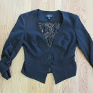 IZ BYER WOMEN'S SIZE S SUIT JACKET BLACK W/ LACE BACK TUXEDO LONG RUCHED SLEEVES
