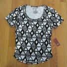 NO BOUNDARIES WOMEN'S JUNIOR'S SIZE XL (15/17) T-SHIRT BLACK & WHITE AZTEC CROP TOP NWT