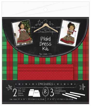 LITTLE DRESS BOUTIQUE GIRL'S SIZE 2 - 4 PILLOW CASE DRESS SEWING KIT RED & GREEN PLAID NEW CHRISTMAS
