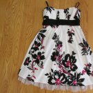 RUBY ROX WOMEN'S JUNIOR'S SIZE 9 DRESS WHITE, BLACK, FUCHSIA FLORAL W/ NETTING SPRING SUMMER SUN
