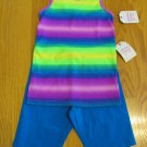 FADED GLORY GIRL'S SIZE M (7 - 8) TANK & SHORTS SET RAINBOW STRIPE TOP, ROYAL ATHLETIC NWT