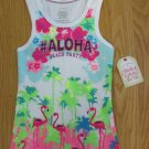 FADED GLORY GIRL'S SIZE XS (4 - 5) TANK TOP WHITE W/ BRIGHT #ALOHA & FLAMINGO GRAPHIC NWT
