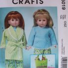 "McCALL'S 5019 AMERICAN GIRL 18"" DOLL CLOTHES PATTERN NEW PAJAMAS, ROBE SLEEPING BAG"