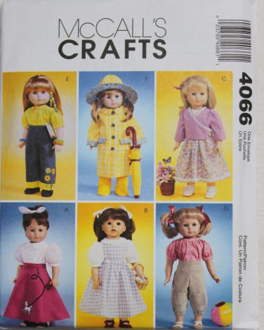 """McCALL'S 4066 AMERICAN GIRL 18"""" DOLL CLOTHES PATTERN NEW POODLE SKIRT, DOROTHY, RAIN COAT"""