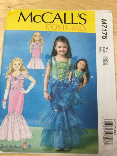 """McCALL'S 7175 SIZE 3-8 & AMERICAN GIRL 18"""" DOLL CLOTHES PATTERN NEW MERMAID DRESS COSTUME"""
