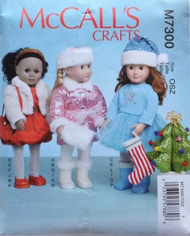 """McCALL'S 7300 AMERICAN GIRL 18"""" DOLL CLOTHES PATTERN NEW WINTER CHRISTMAS HOLIDAY"""